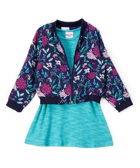 Nannette Girl Blue Floral Bomber Jacket & Shift Dress - Toddler & Girls | zulily