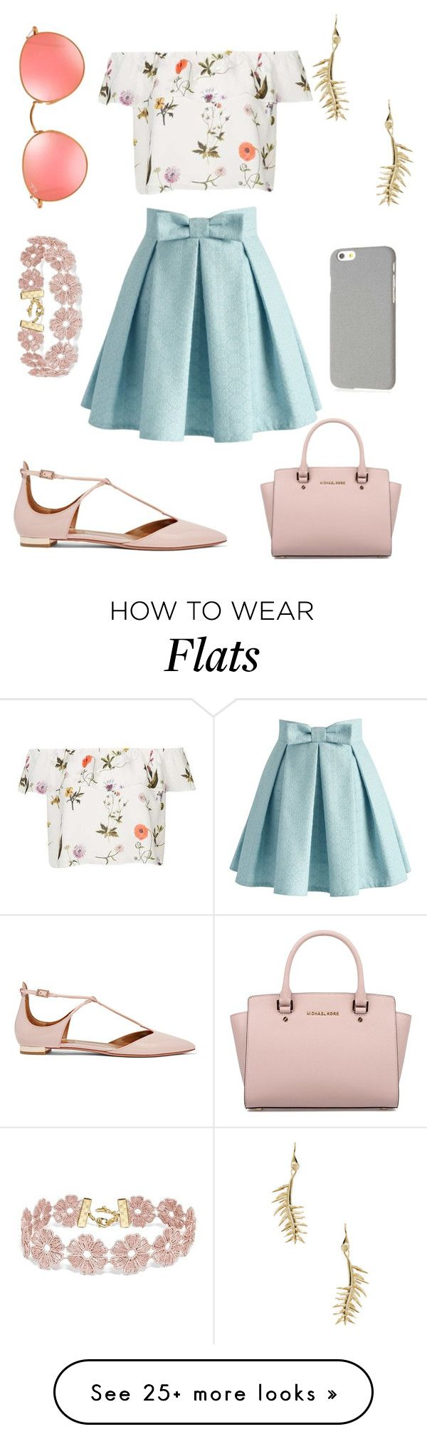 """Untitled #58"" by neirak on Polyvore featuring Topshop, Aquazzura, Eddie Borgo, Chicwish, BaubleBar, Ray-Ban, Klix and Michael Kors"