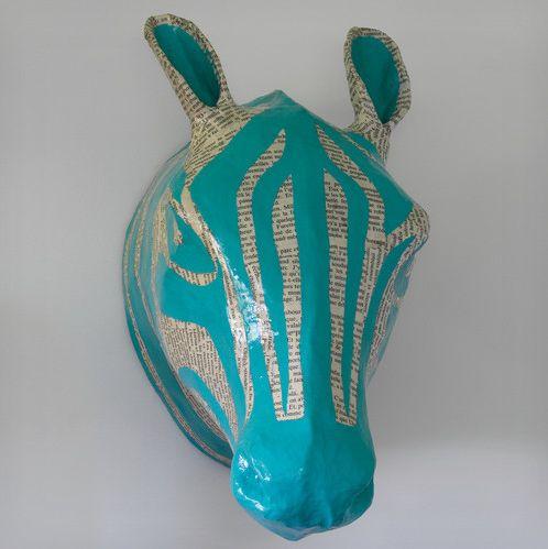Zebra Papier-Mache Head - Blue - Dwell Studio | domino.com
