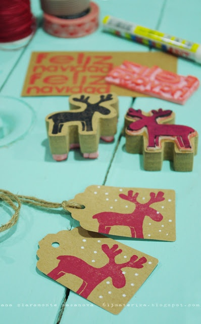 Stamp home made, or ready made tags to dress up a plain package.