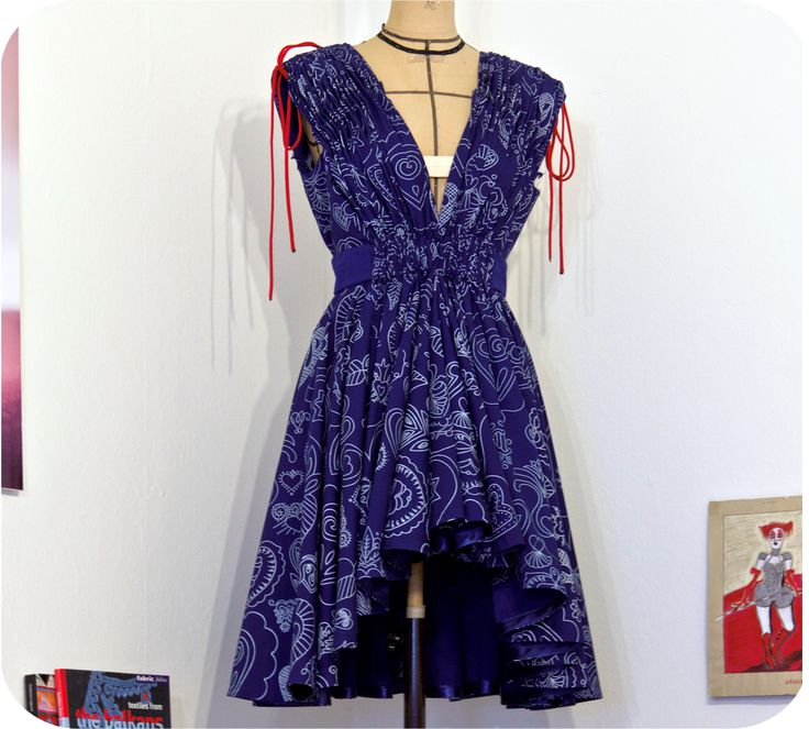 Dress made of traditional Hungarian blue-dyed fabric by Piroshka Design http://www.budapestwithus.hu/heinrich-alkotoi-szint/