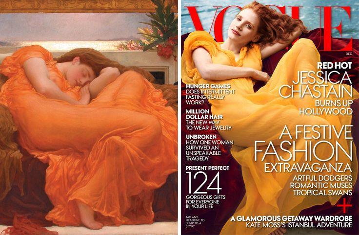 """Jessica Chastain fotografiada por Annie Leibovitz para la edición de VOGUE de diciembre del año 2013. En la imagen, recreando el cuadro de Frederic Leighton, """"Flaming June"""" (1894-95)"""