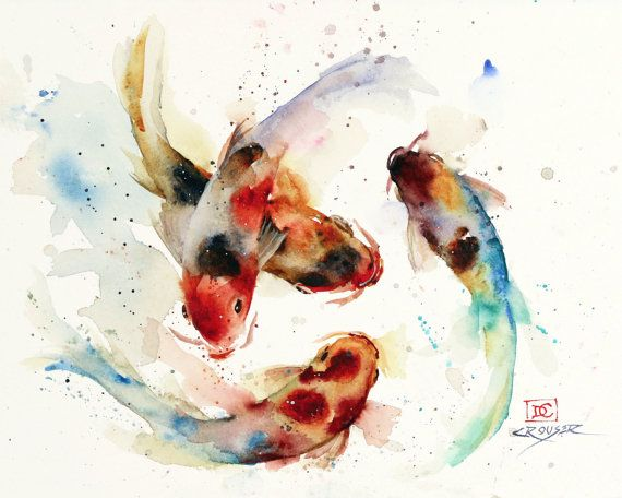 KOI SCHOOL limited edition watercolor print from an original painting by Dean Crouser. Lots and color and movement in this one. This is another painting where I just sat down and started playing around - I didnt even have a line drawing, but things just started moving in the right direction. For me, this is the most fun way to paint!  Limited edition giclee watercolor print. Signed and numbered by the artist. Edition limited to 400 prints. Available in a variety of sizes on drop-down menu…