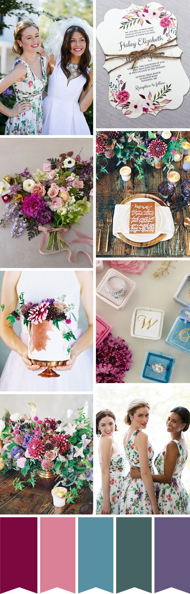 Jewel-tones and floral inspired wedding color palette // www.onefabday.com