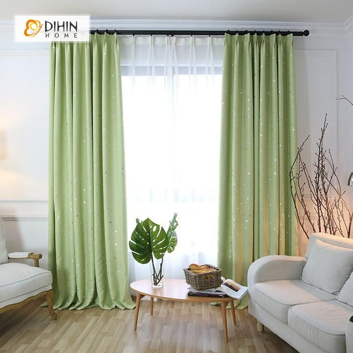 Dihin Home Exquisite Light Green Printed Blackout Grommet Window