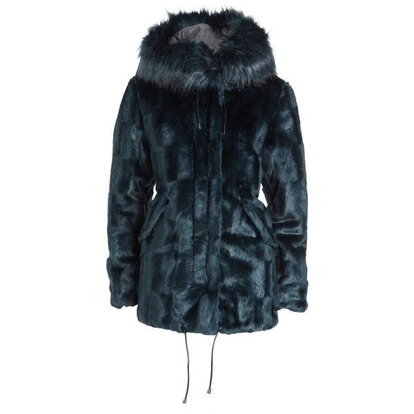 Steffen Schraut Faux Fur Parka (31.435 RUB) ❤ liked on Polyvore featuring outerwear, coats, blue, fake fur coat, imitation fur coats, faux fur parka coat, steffen schraut and blue coat