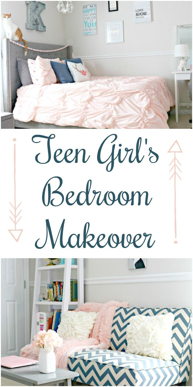 remarkable blue pink bedroom ideas teenage girls   Teen Girl's Bedroom Makeover with Navy Blue, Grey and ...