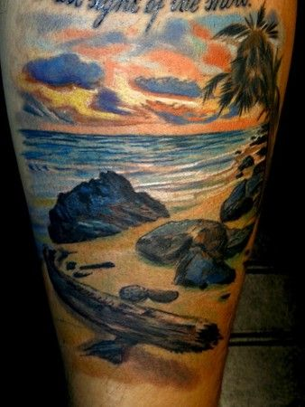 Beach Tattoo By Todo Of McDonough GA This But With Crossed Swords