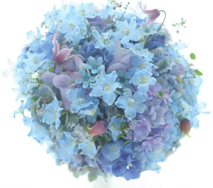 青のブーケ 六本木バルコニー様へ : 一会 ウエディングの花