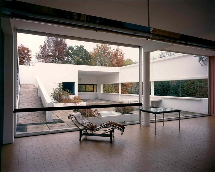 Le Corbusier - Villa Savoye Pony chaise , petit confort, chaise structure of tubular metal outside ( in collaboration with Charollete Perriand) expresses architecture first major ergonomic piece of furniture fit almost anyone