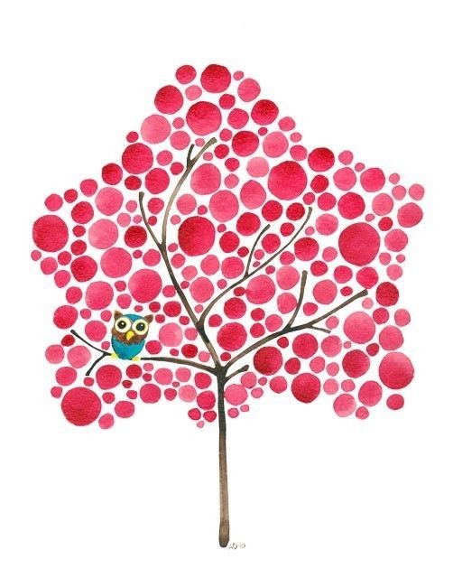 Watercolor Tree Art Owl in Red Maple Print Perfect door jellybeans