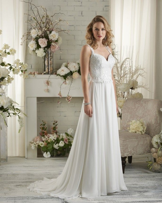 Fresh  Bonny by Bonny Bridal Draping chiffon and lace wedding gown