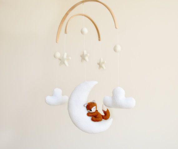 Volpe bambino presepe Mobile | Woodland animale mobili Nursery Decor bambino…