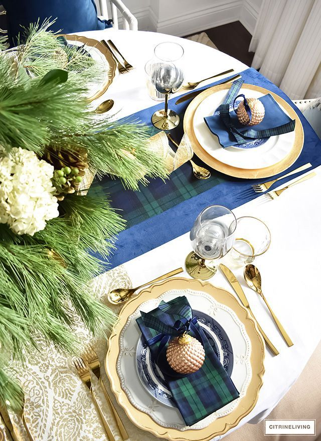 Classic Christmas Tablescape With Tartan Navy Green And Gold With Images Blue Christmas Decor Gold Christmas Decorations Plaid Christmas Decor