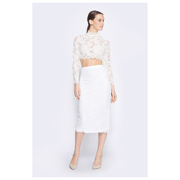 Fame&Partners Two Piece Cocktail White Selena Lace Two Piece Dress (€200) ❤ liked on Polyvore featuring dresses, white, two piececocktaillace, white dress, graduation dresses, formal dresses, holiday cocktail dresses and white cocktail dresses