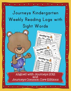 This set includes weekly reading log sheets that include sight words from the Kindergarten Journeys reading series. I have included the words from the 2012 and the new 2014 Common Core Edition.
