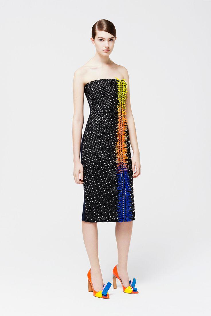 Roksanda   Resort 2015   38 Black fringed strapless midi dress