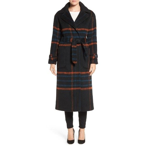 Women's Trina Turk 'Margaret' Check Wrap Coat ($595) ❤ liked on Polyvore featuring outerwear, coats, black plaid, long coat, checked coat, long wrap coat, plaid coat and plaid wrap coat
