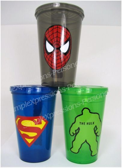 Super hero personalized kids tumbler cup