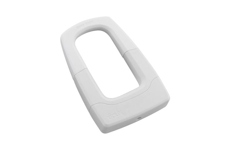Knog Bouncer fietsslot - Wit  Knog Bouncer U-lock  Wit fietsenslot:  Slot: 13mm hardened steel slot.  Gewicht: 800g.  Afmetingen: 185 x 125 x 35mm.  Materiaal: Silicone overmoulded plated hardened steel U-lock.  Body: Investment cast steel. Injection moulded engineering plastic UV painted exterior.  Krasbescherming: UV resistant Silicone slot outer and plastic housing covers.  Secure Mechanical Assembly: Entire mechanical assembly encased by plastic outer housings - eliminating leverage…