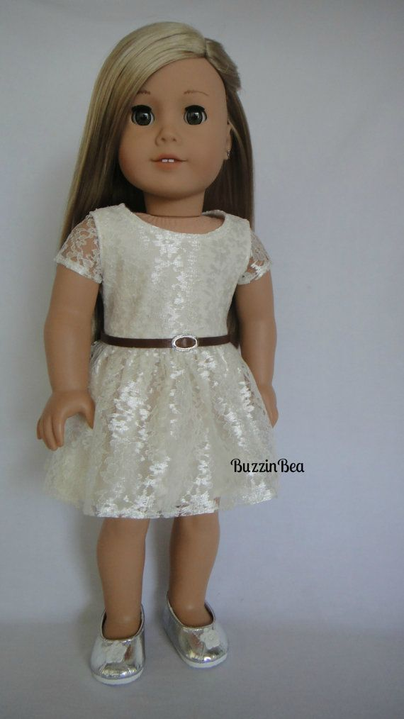 Cream Lace Dress with Real Leather Belt - American Girl Doll Clothes