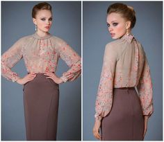 Р-1199-3032 Блуза Скарлетт Блуза Скарлетт Женственная блуза с длинными рукавами | Женские блузки, рубашки с длинным рукавом