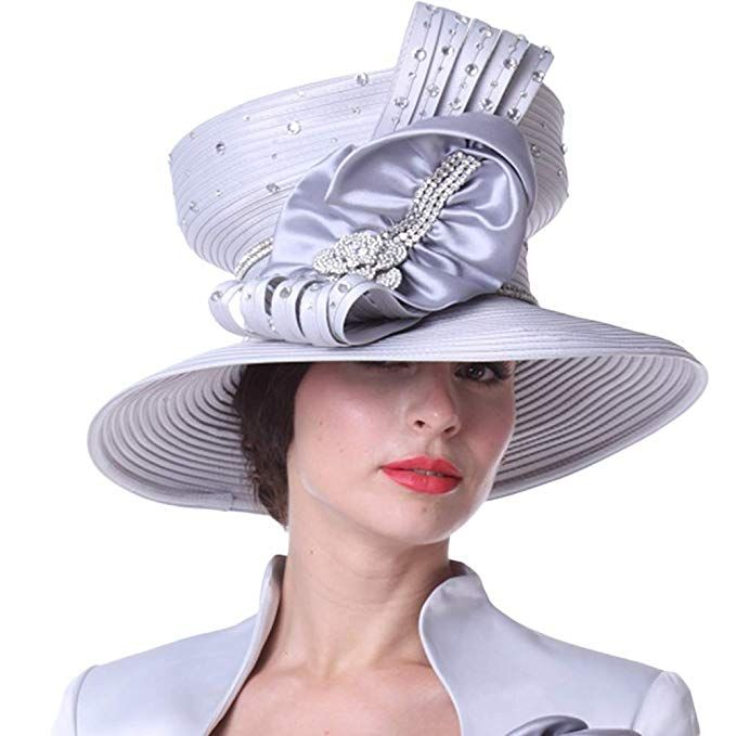 Kueeni Women Hats Church Hats Top Crown Big Bow Silver Review ... 81a60b67b3a