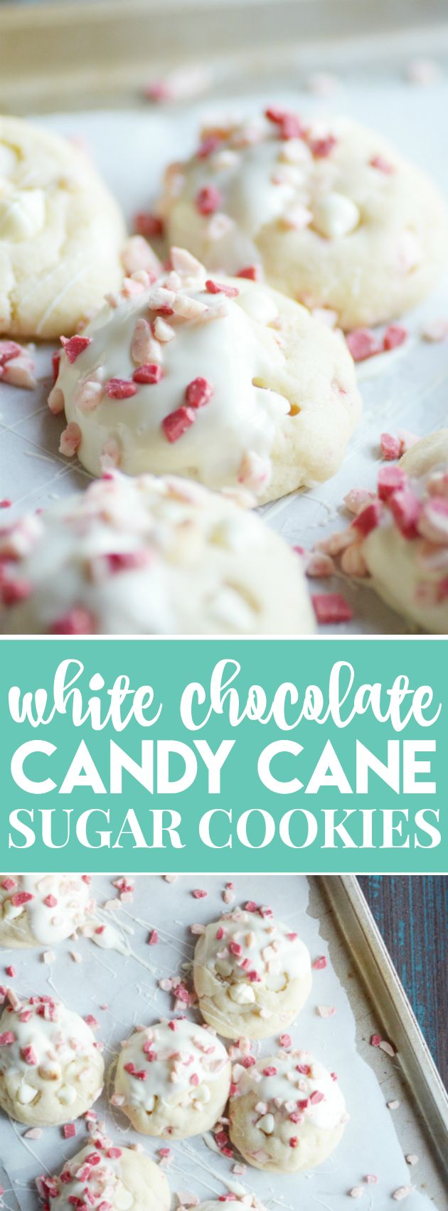 White Chocolate Candy Cane Sugar Cookies | Something Swanky | Soft sugar cookies dipped in white chocolate and peppermint bits