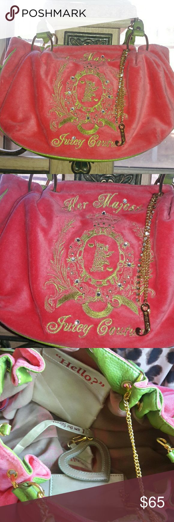 2 hr sale Small juicy couture rhinestone purse Great condition just leather inside is peeling very cute juicy purse blinged out comes with mirror inside Juicy Couture Bags