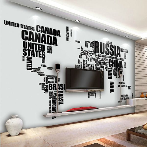 Diy Large World Map Wall Decal English Alphabet Removable Wall