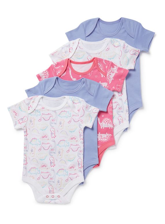 7d498a4132 5 Pack Multicoloured Dinosaur Print Bodysuits from Tu at Sainsbury's ! Your Online  Shop for Baby Bodysuits | Daisy | Baby, Baby bodysuit, Baby kids
