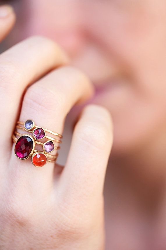 Delicate gold ring orange carnelian rose cut by BelindaSaville. blue and lavender :)