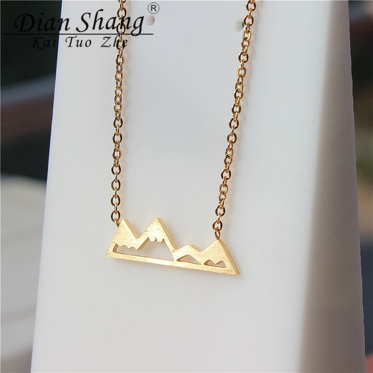 DIANSHANGKAITUOZHE 10pcs Gold Plated Snow Mountain Necklaces & Pendants Stainless Steel Choker Necklace Women Modern Jewelry
