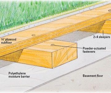 basic sleepers on concrete slab