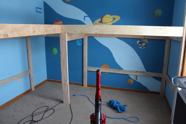 Over the course of two weekends we disassembled the boys cheap bunk beds (and by cheap I mean in both price and quality- why we thought a set of $200 bunk beds would be able to stand up to our boys…