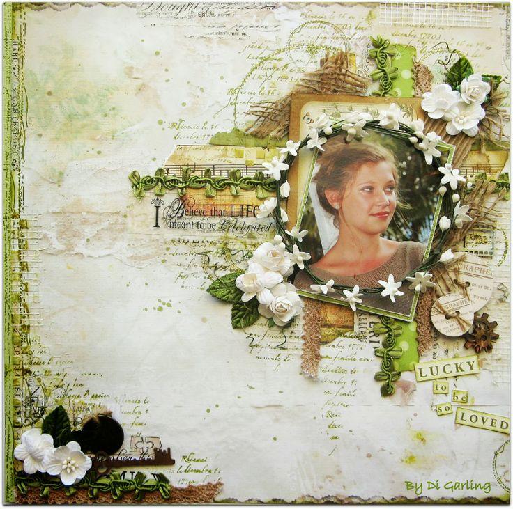 Оформление фотографий и странички ручной работы в технике скрапбукинг зеленого цвета