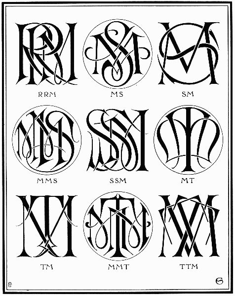 plate lxxxix�mr ms mt writing monogram tattoo