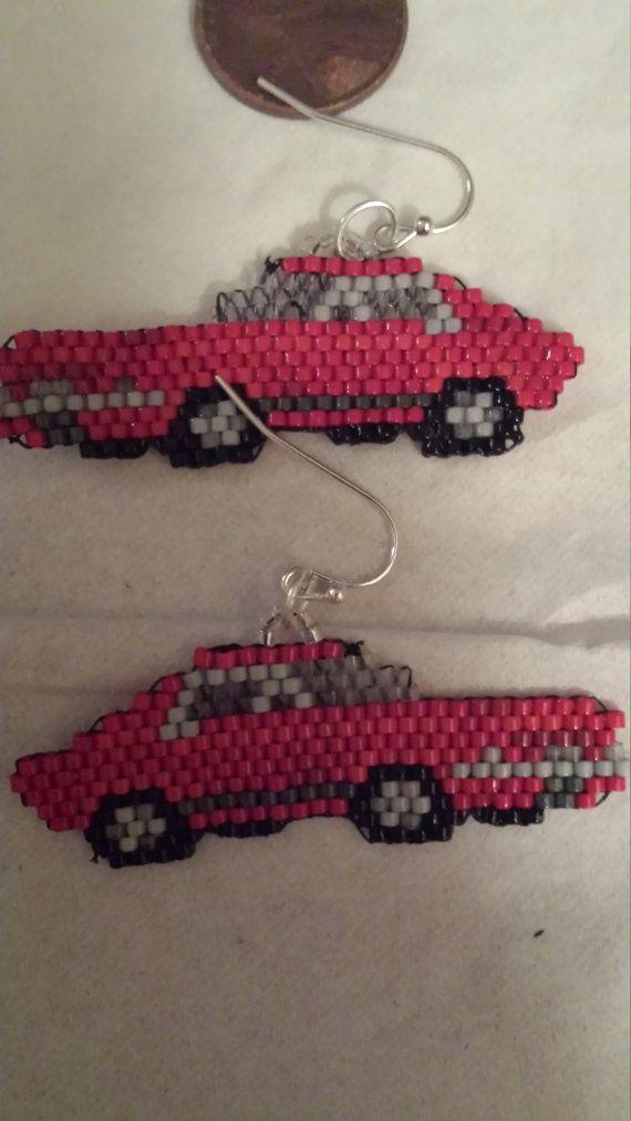 Red Muscle Car Hand Beaded Earrings by FaeryWolfsFancies on Etsy