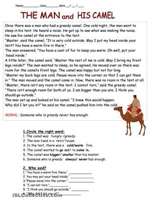 "This is a great story with wisdom .The moral of the story is ""Someone who is greedy never has enough"" . The after reading activities are basic dealing with vocabulary.(2 pages) - ESL worksheets"