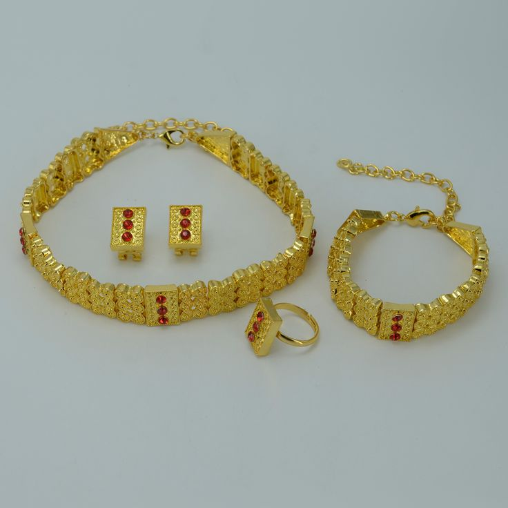 Vergulde Ethiopische Sieraden sets Chokers Ketting/Oorbellen/Ring/Armband Eritrea Habesha Afrika Bruid Bruiloft set #011306
