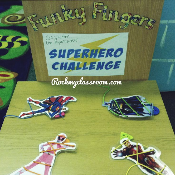 funky fingers. finger gym. fine motor skills. Free the superheroes by unthreading them
