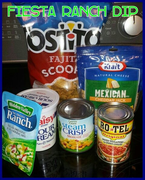 Fiesta Ranch Dip: 16 oz Sour Cream, 1 packet of Ranch Salad Dressing Mix, 1 cup Mexican Cheddar Jack Cheese, 1 can Mexicorn (drained)and 1 can Rotel (drained). Combine together and refrigerate for 2 hours before serving. Serve with Fajita scoops or Fritos scoops.