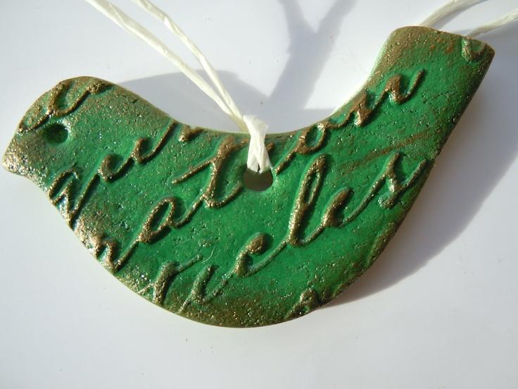 Green  Christmas  bird, hanging ornament, salt dough, Christmas tree ornaments. £1.50, via Etsy.