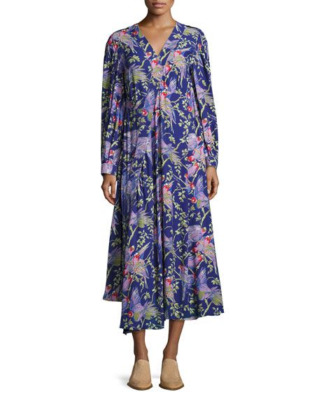 LOEWE Printed V-Neck Midi Dress, Black/Purple. #loewe #cloth #