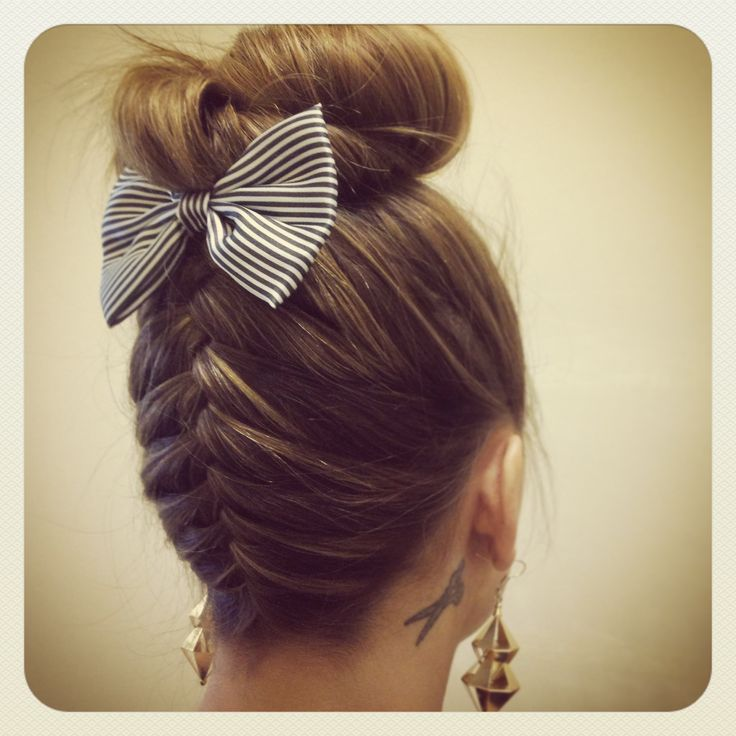 french braid bow and bun beauty