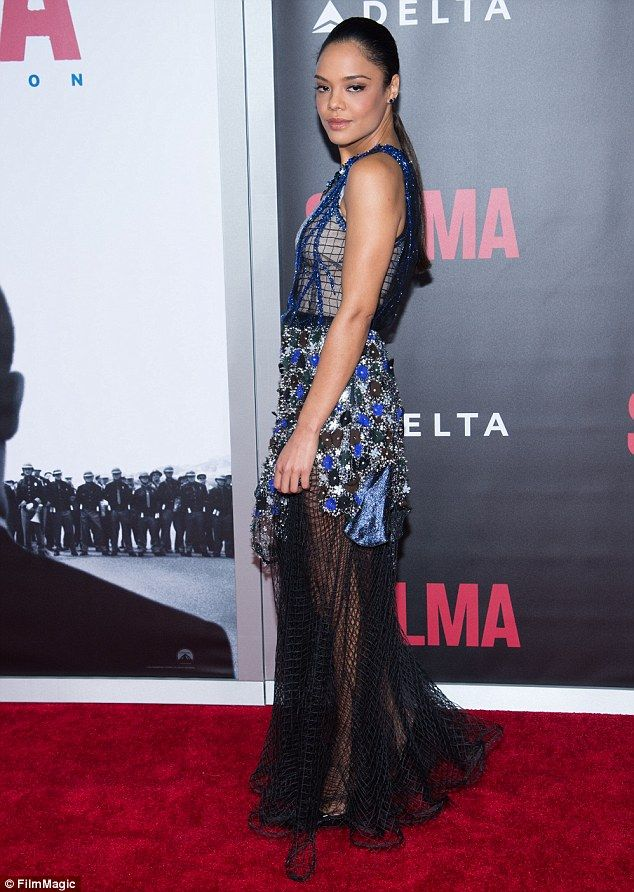 Fashion risk: Tessa Thompson, who plays civil rights activist Diane Nash, stunned in a ver...