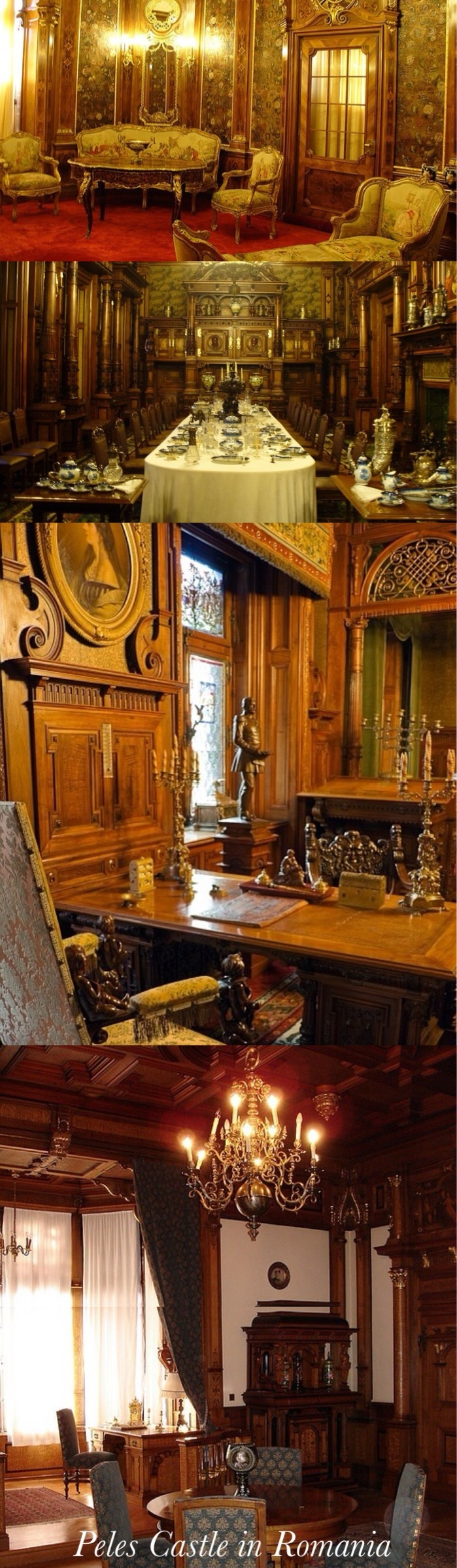 The Peles Castle interior of the castle is a true wonder, due to the beauty and richness of the sculpted wood and the stained glass windows. As you get in the vestibule, you are on the Honor Staircase, in front of the most important rulers of old Romania.