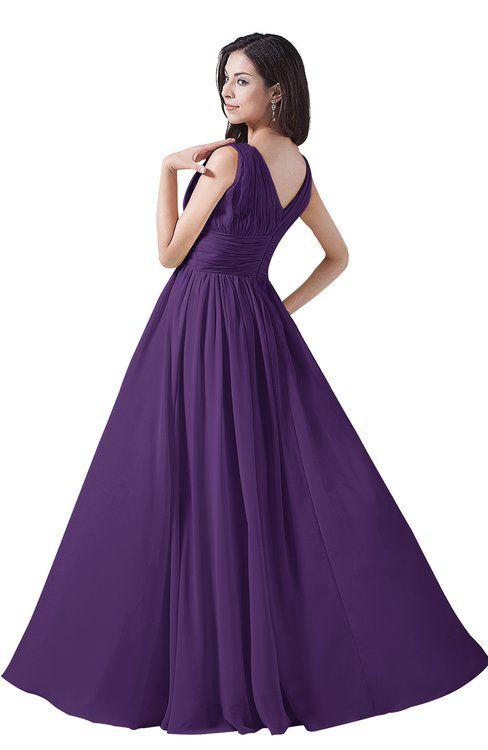 4126ee63771 ColsBM Alana Dark Purple Elegant V-neck Sleeveless Zip up Floor Length  Ruching Bridesmaid Dresses