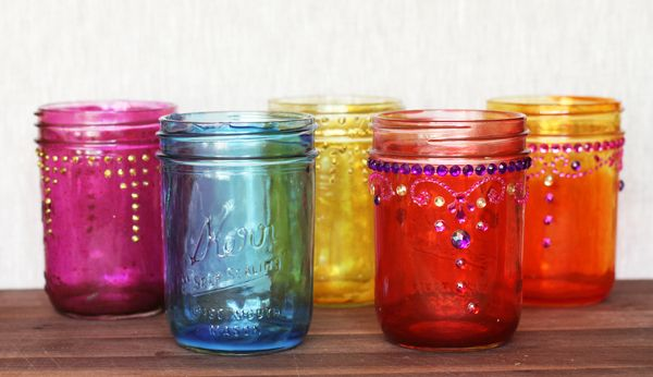 How to Make Colored Mason Jars via Lilyshop Blog by Jessie Jane  I think this would be great for my wedding!! In purples..