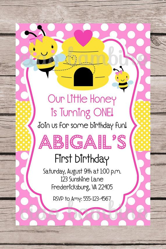 PRINTABLE Pink Bumble Bee Birthday Party Invitation by ciaobambino